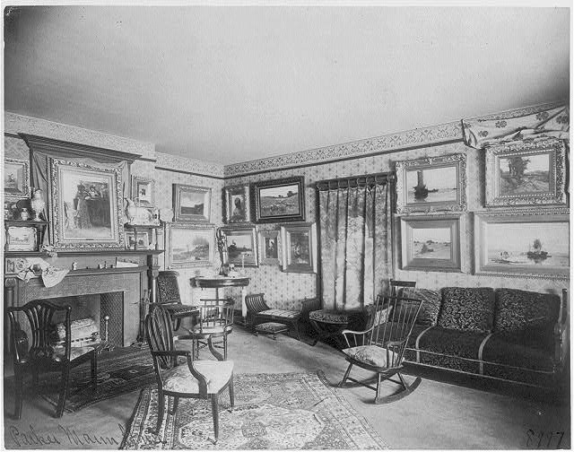 [Interior of Parker Mann house, Washington, D.C. - room filled with paintings]