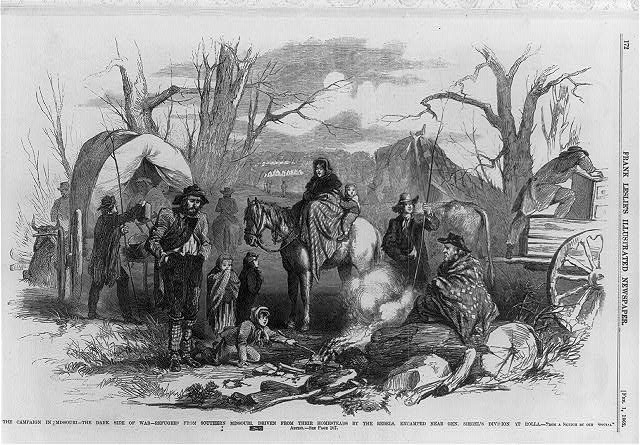 The campaign in Missouri - the dark side of war - refugees from southern Missouri, driven from their homesteads by the Rebels, encamped near Gen. Siegel's division at Rolla