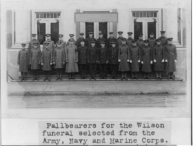[Group portrait of 27 U.S. Army, Navy and Marine Corps pallbearers selected to serve at funeral of Woodrow Wilson]