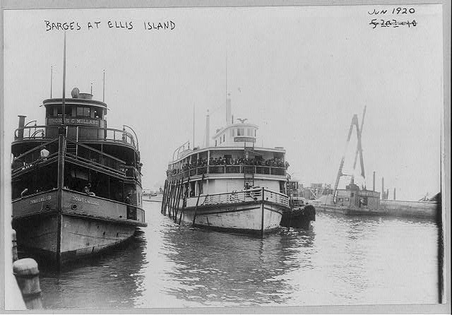 Barges [i.e., ferry boats] at Ellis Island