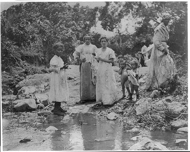 A group of Santiago refugees near El Caney, Cuba, 1898