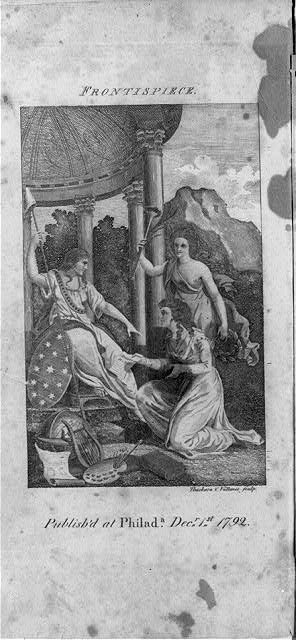 The Genius of the Ladies Magazine, accompanied by the Genius of Emulation, who carries in her hand a laurel crown, approaches Liberty, and kneeeling, presents her with a copy of the Rights of Women