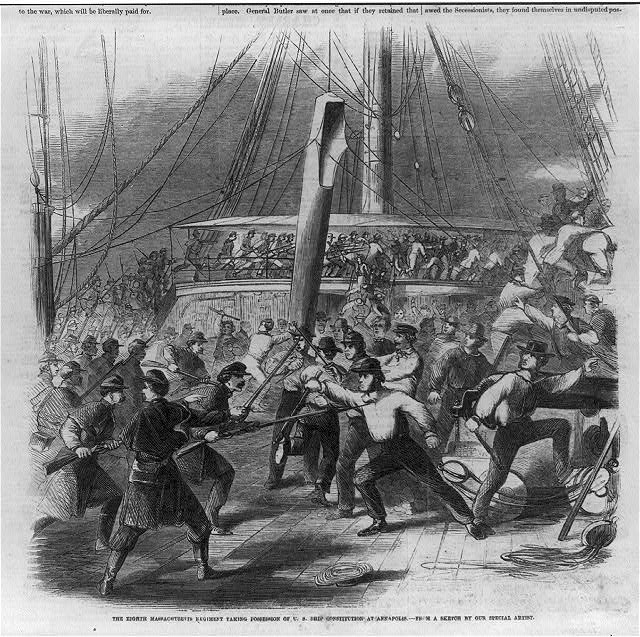 The Eighth Massachusetts Regiment taking possession of U.S. ship Constitution at Annapolis [Battle on deck of ship]
