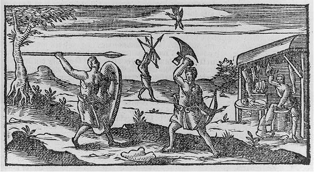 [Mexican Indians fighting with spear, ax, and shield in foreground; hunting birds and cannibalizing in background]