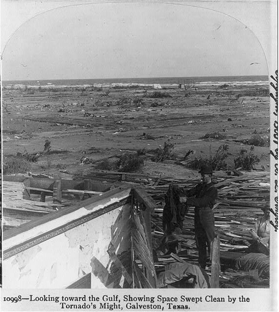 Looking toward the gulf, showing space swept clean by the tornado's might, Galveston, Texas
