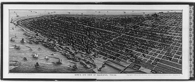 Bird's-eye view of Galveston, Texas