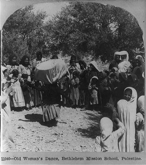 Old woman's dance, Bethlehem Mission School, Palestine