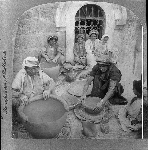 [Women] making clay jars, Ramallah, Palestine