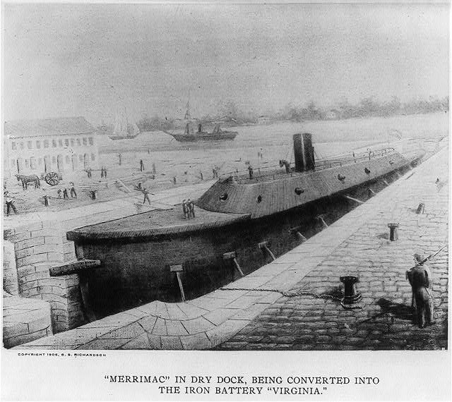 MERRIMAC in dry dock, being converted into the iron Battery VIRGINIA