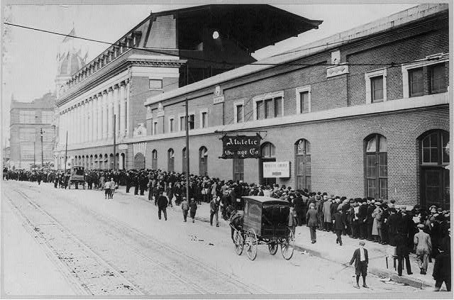 Crowds waiting in line to buy tickets at Shibe Park [Phila., 1911]