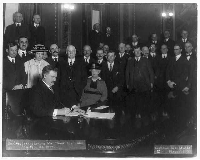 "Governor Norbeck signing the ""bone dry"" law, Feb. 12, 1917"