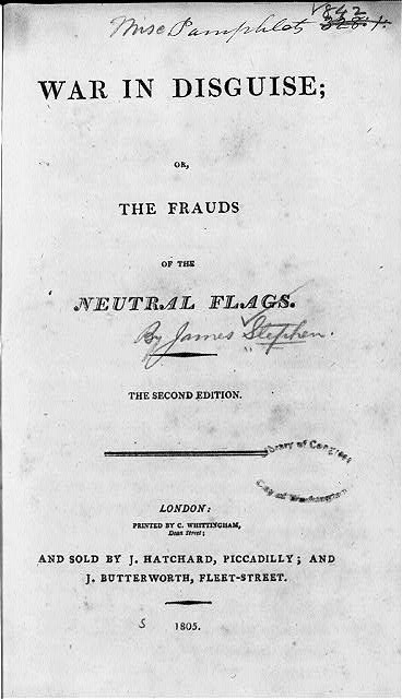 Title page of James Stephen, War in Disguise (London, 1805)