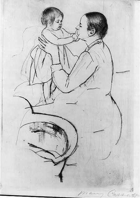 Mother Marie dressing her baby after its bath / Mary Cassatt