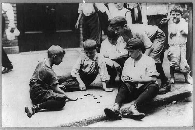 [New York City - children on the street: boys playing checkers in the street]
