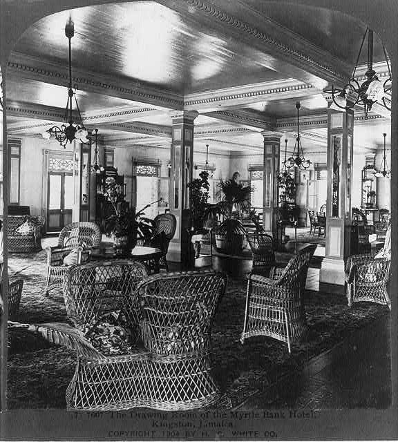 The drawing room of the Myrtle Bank Hotel, Kingston, Jamaica