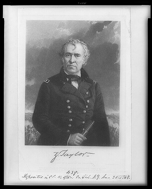 [Zachary Taylor, half-length portrait, facing slightly left, in uniform, holding telescope]