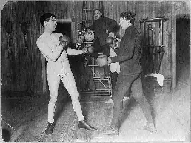 James J. Corbett - training at Coopers gym [with Kennedy? 190-?]