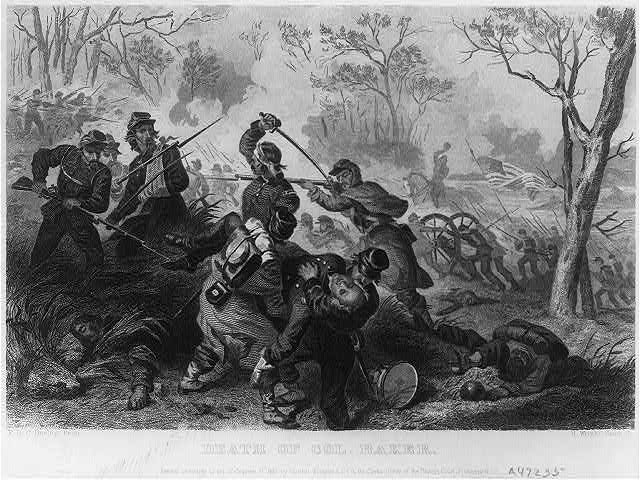 Death of Col. Baker [at Ball's Bluff (near Leesburg, Va.) in the Civil War, Oct. 22, 1861]