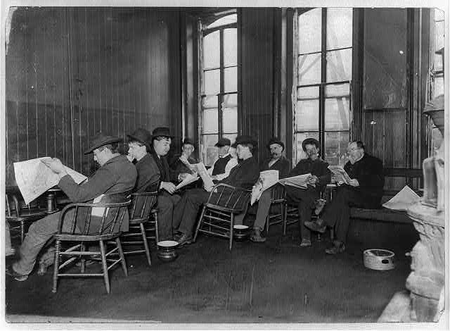New York City. Reading room in 10-cent lodging house on the Bowery