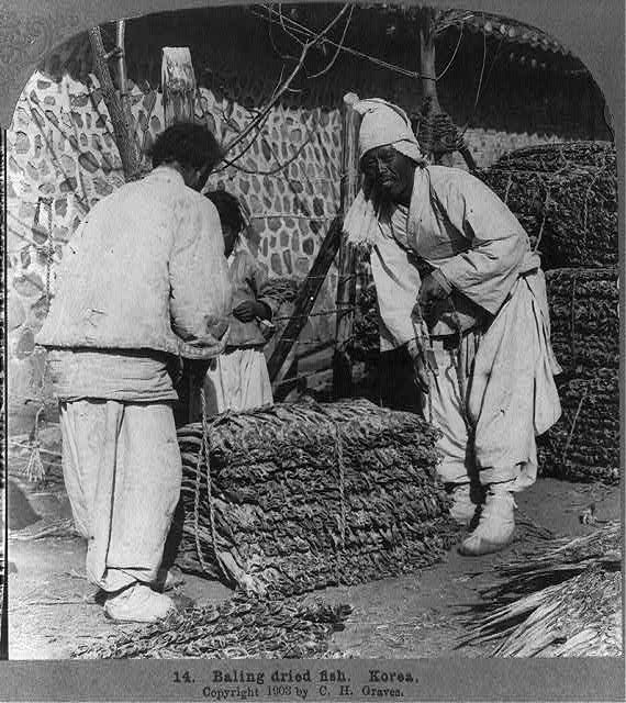 Baling dried fish, Korea