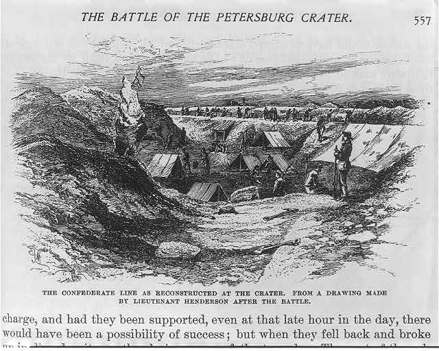 The Battle of the Petersburg Crater: The Confederate line as reconstructed at the crater. From a drawing made by Lieutenant Henderson after the battle