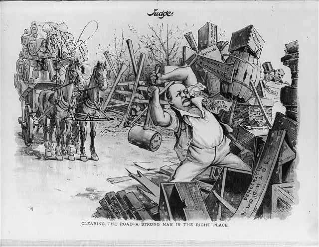 [Cartoon of Speaker of the House Thomas Brackett Reed, with huge sledge hammer, breaking up the broadblocks of the disappearing Quorum and dilatory motion]