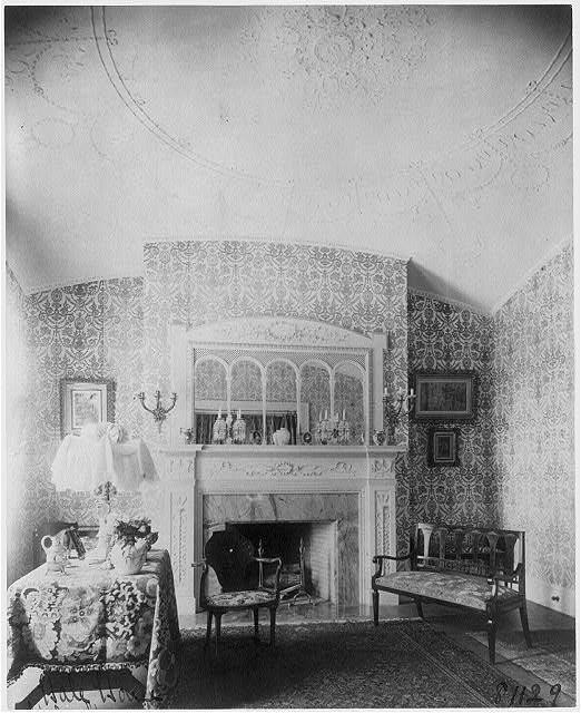 [Ornate interiors of Chandler Hale house, 1001 16th St., N.W., Washington, D.C., showing piano, fireplaces, and china closet]