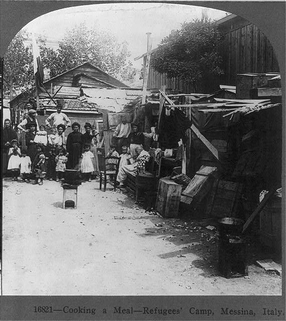 Earthquake of 1908, Messina, Italy: Cooking a meal - refugees' camp
