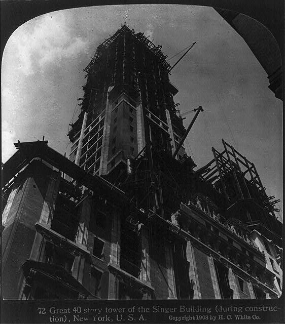 Great 40 story tower of the Singer Building (during construction), New York, U.S.A.