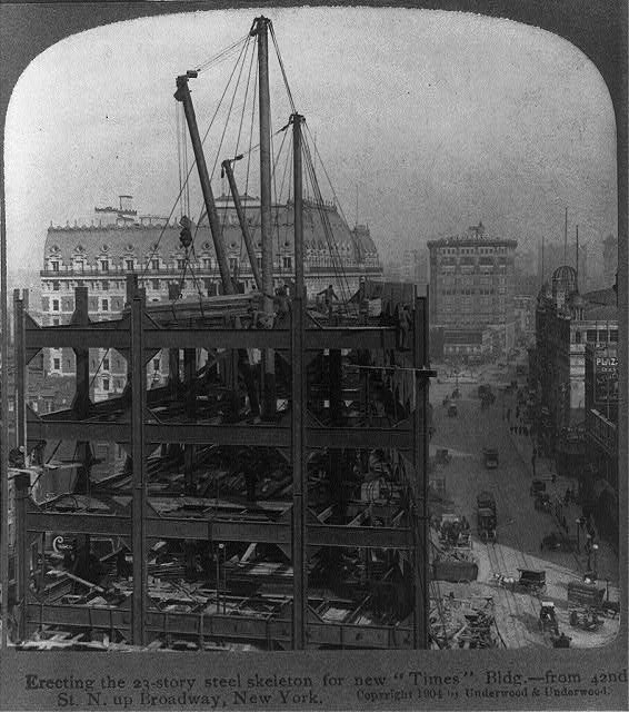 Erecting the 23-story steel skeleton for new Times Bldg. - from 42nd St. N. up Broadway, New York