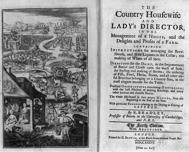 "[Frontispiece and title page of Richard Bradley's ""The Country Housewife and Lady's Director; frontis illust. panorama of farming scenes]"