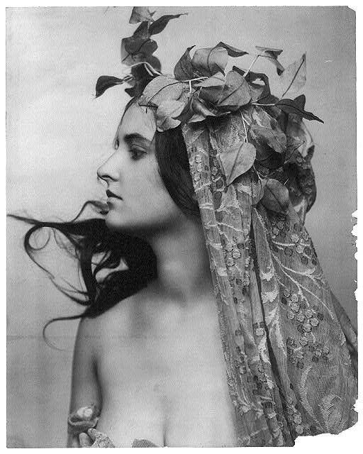 [Young woman modeling: head and shoulders, facing left, vines on head, and meshed fabric draped from head over body]