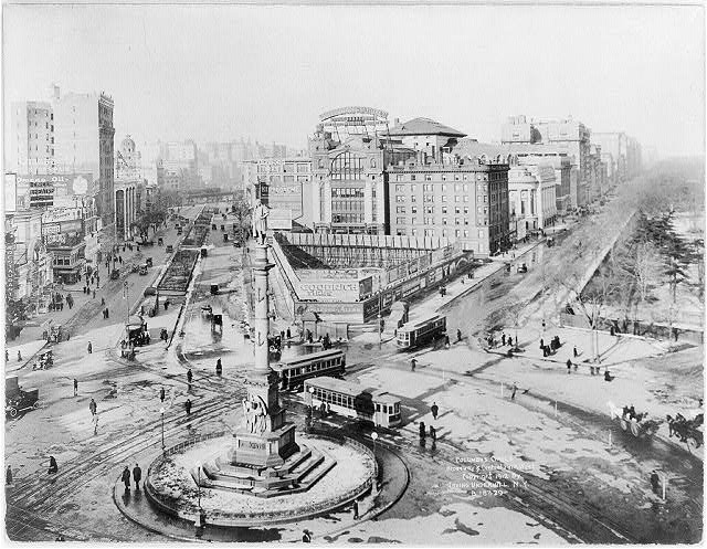 Columbus Circle, Broadway & Central Park West, [New York City. Statue of Columbus in foreground]