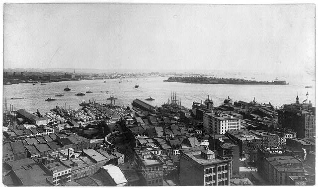 [New York City: Governers Island and the narrows - bird's eye view]