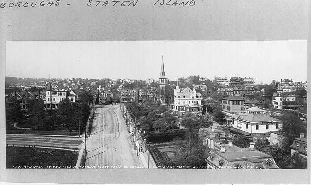 New Brighton, Staten Island, N.Y. [Bird's-eye view]: Looking west from St. George