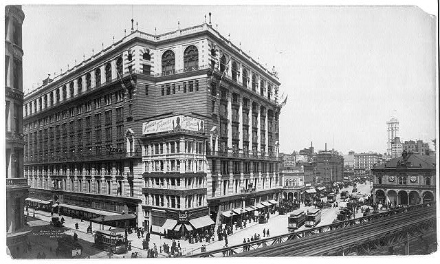 [New York City: Herald Square - facing Macy's, with elevated railroad in right foregrd.]
