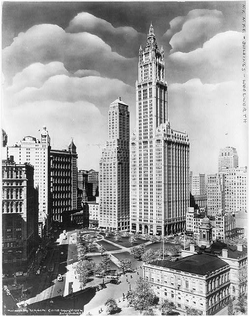[New York City: Woolworth Bldg. and City Hall Park - bird's-eye view]