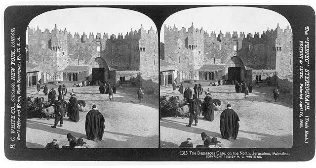 The Damascus Gate, on the north, Jerusalem, Palestine