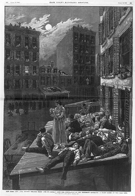 "New York City - The recent ""heated term"" and its effect upon the population of the tenement districts A night scene on the East Side /"