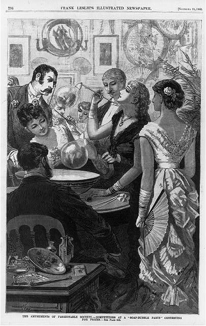 "The amusements of fashionable society--competitors at a ""soap-bubble party"" contesting for prizes"