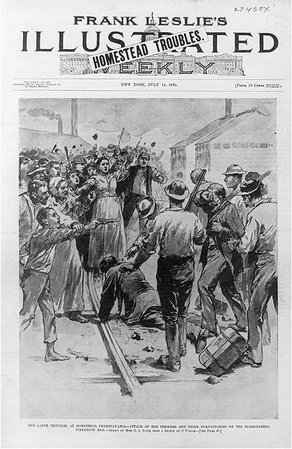 The labor troubles at Homestead, Pa. - Attack of the strikers and their sympathizers on the surrendered Pinkerton men