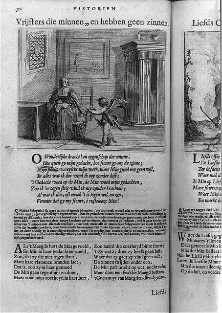 Cupid delivering a letter [to seated woman; above page of poetry in Dutch]
