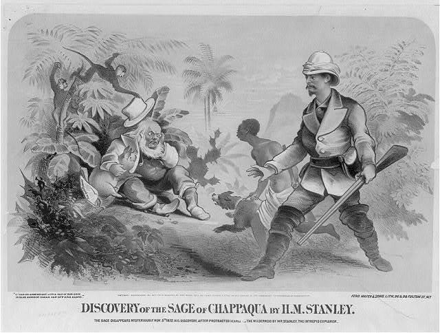 Discovery of the Sage of Chappaqua by H.M. Stanely. The Sage disappears mysteriously Nov. 5th 1872. His discovery, after protracted search of the wilderness by Mr. Stanley, the intrepid explorer.