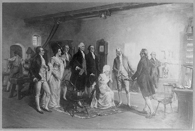 Washington inspecting the first money coined by the United States