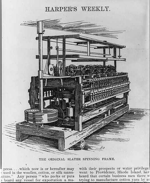 The original Slater spinning frame