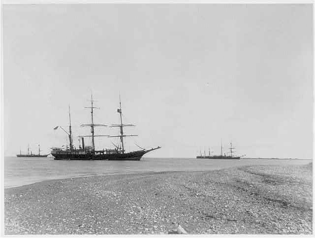[3 sailing ships at anchor, Aleutian Islands?]