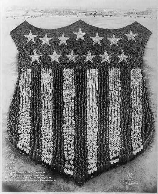 The Human U.S. Shield; 30,000 officers and men, Camp Custer, Battle Creek, Mich; Brig. Gen. Howard L. Lauback, commanding