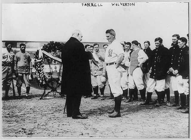 [Frank Farrell, Yankee president, making presentation to Harry Wolverton and Yankee players (baseball)]