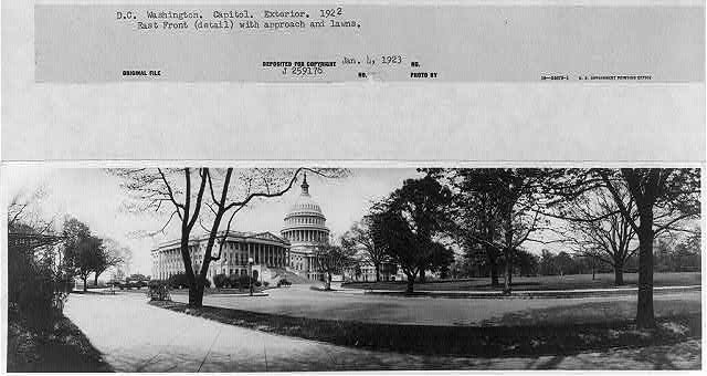 D.C. Washington - Capitol - Exterior - 1922 - East front (detail) with approach and lawns