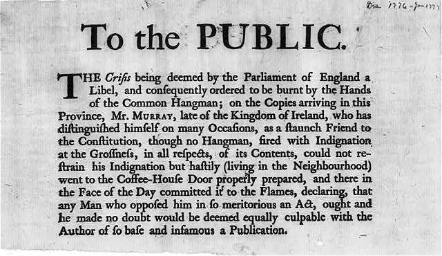 To the public. The Crisis being deemed by the Parliament of England a libel ...